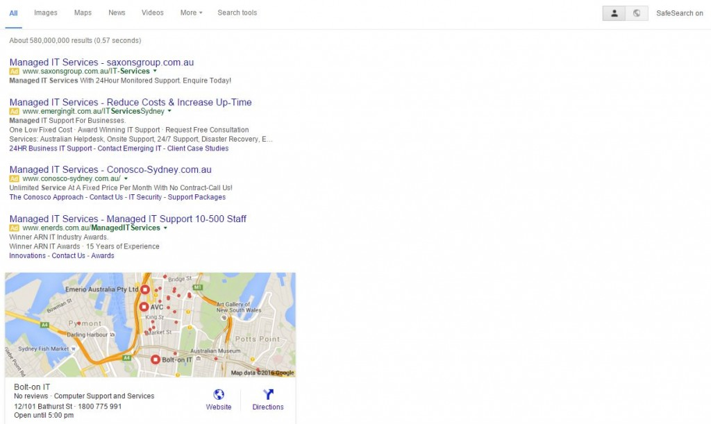 Google Displays Top 4 Ads on SERP